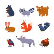 Stock Illustration of Wild Forest Animals. Vector Illustration Collection