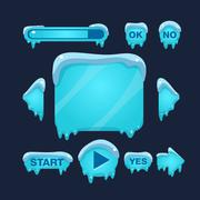 Cartoon Vector Winter Game User Interface - stock illustration