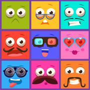 Cartoon Faces with Emotions and Mustache. Vector Set - stock illustration