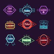 Stock Illustration of Neon Light Poker Club and Casino Emblems Collection