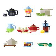 Tea Cup and Kettle Set. Vector Illustration - stock illustration