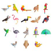 Flat design vector birds icon - stock illustration