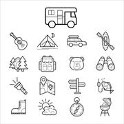 Big set linear icon camping and tourism vector - stock illustration