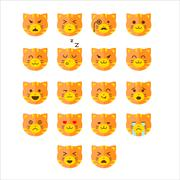 Stock Illustration of Simple cute cat emoticons