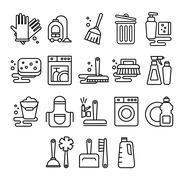 Cleaning, laundry, washing, broom, cleanliness, washing windows, freshness - stock illustration