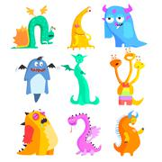 Cute Monsters and Aliens. Colourful Set - stock illustration