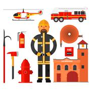 Stock Illustration of Firefighting character Flat style. Elements for infographic