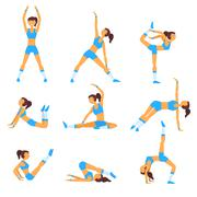 Vector yoga illustration Healthy lifestyle - stock illustration