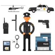 Policeman, police department Flat style. Elements for infographic - stock illustration