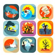 Natural disaster catastrophe and crisis flat set vector Stock Illustration