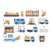 Warehouse flat set of logistics packing process delivery services isolated icon - stock illustration