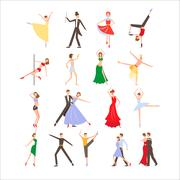 Dance festival, different dance styles, flat icon set isolated vector - stock illustration