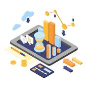 Flat 3d isometric business finance analytics, chart graphic report on tablet web Stock Illustration