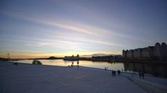 Oslo Opera House, Operahuset, dusk, iceberg architecture Stock Footage