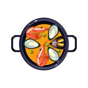 Stock Illustration of Seafood Soup in a Bowl Served Food. Vector Illustration