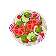 Salad of Sliced Vegetables Served Food. Vector Illustration Stock Illustration