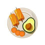 Stock Illustration of Avocado, Rolls and Carrot Served Food. Vector Illustration