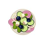 Stock Illustration of Greek Salad with Vegetables and Cottage Cheese Served Food. Vector Illustration