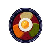 Soup with Toasts and Fried Egg Served Food. Vector Illustration - stock illustration