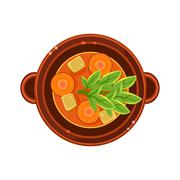Stock Illustration of Vegetable and Carrot Soup in a Bowl Served Food. Vector Illustration