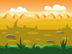Seamless cartoon nature landscape, unending background with soil, trees - stock illustration