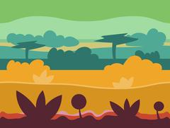 Seamless cartoon nature landscape, unending background with soil, trees Stock Illustration