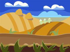 Stock Illustration of Seamless cartoon nature landscape, unending background with soil, trees