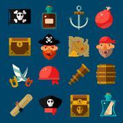 Pirate Game Flat Set - stock illustration