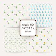 Set of four seamless patterns of wildflowers, rain and clouds. - stock illustration