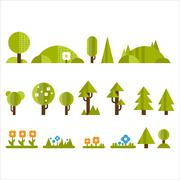 Trees, Bushes and Flowers Set in Flat Style - stock illustration