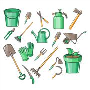 Gardening Tools Vector Illustration Set Stock Illustration