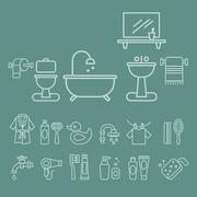 Various Bathroom Elements Icons Vector Set - stock illustration
