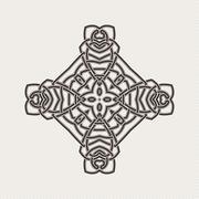 Vector mandala. Gothic lace tattoo. Celtic weave with sharp corners. - stock illustration