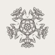 Vector mandala. Gothic lace tattoo. Celtic weave with sharp corners. - stock illustration
