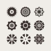 Set of ornate vector mandala symbols. Gothic lace tattoo. Celtic weave with s - stock illustration