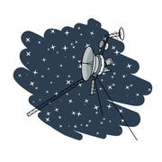 Vector illustration with space satellite in deep space. - stock illustration