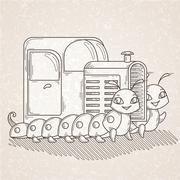 Tractor on the two cheerful and friendly caterpillars. - stock illustration