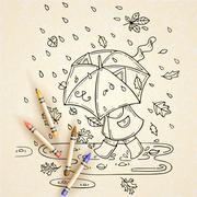 Vector illustration of cute kid with umbrella in rainy season. Stock Illustration