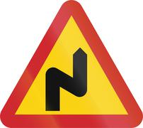 Road sign used in Sweden - Dangerous curves ahead, first to right - stock illustration