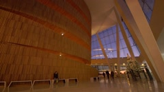 Oslo Opera House, single person waits alone for friends in foyer Stock Footage