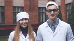 Two of Young doctor on the hospital wall background - stock footage