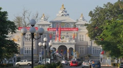 Busy traffic and presidential palace,Vientiane,Laos Stock Footage