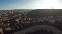 Prague aerial high height facing south tilted down moving right to left 4k Stock Footage
