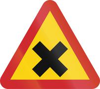 Road sign used in Sweden - Junction Stock Illustration