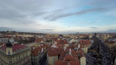 Prague aerial medium height facing east camera pan left to right 4k Stock Footage