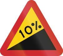 Road sign used in Sweden - Steep hill upwards (10%) - stock illustration