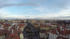 Prague aerial medium height facing east near Charles Bridge 4k Stock Footage
