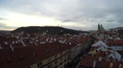 Prague aerial medium height facing west panning left to right 4k Stock Footage