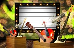 Music program on information board concept - stock photo