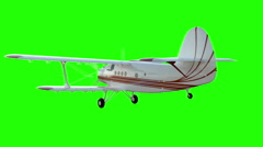 The antonov An-2 bi-plane. Old white plane. Realistic physics animation Stock Footage